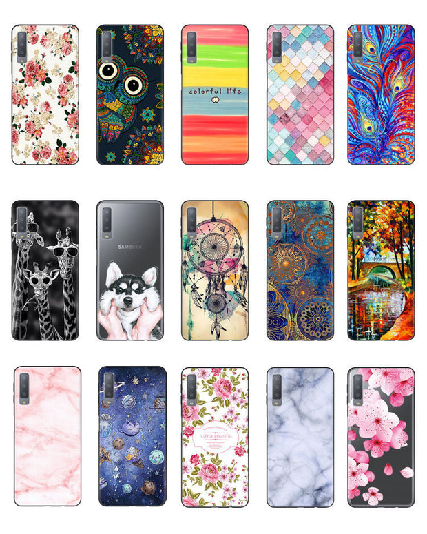 For Samsung A7 2018 Case Painted Fundas Silicon Soft TPU