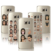 For Samsung Galaxy S7 Cases Sexy Kim Funny Cute Odd Kardashian Painted Cartoon Phone Case Cover Clear Soft TPU Cover Coque