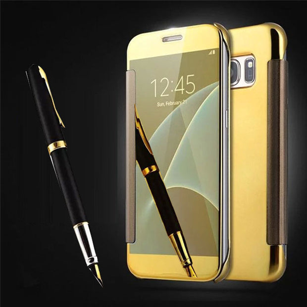 For Samsung Galaxy S7 Edge Case S5 Luxury Smart Flip Slim View Electroplating Mirror Hard Clear Case Cover For Galaxy Note 7