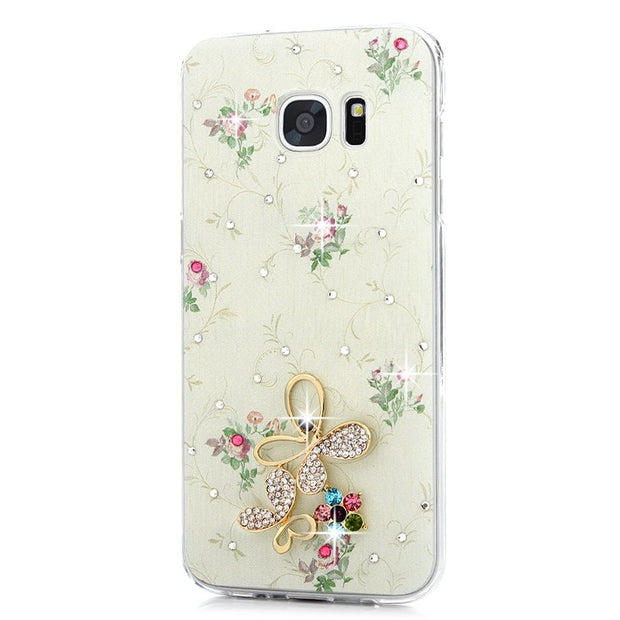 For Samsung Galaxy S7 Edge Rhinestone Case Fashion Colorful Painting Luxury Glitter Crystal Ultra Slim Hard PC Back Cover Cases