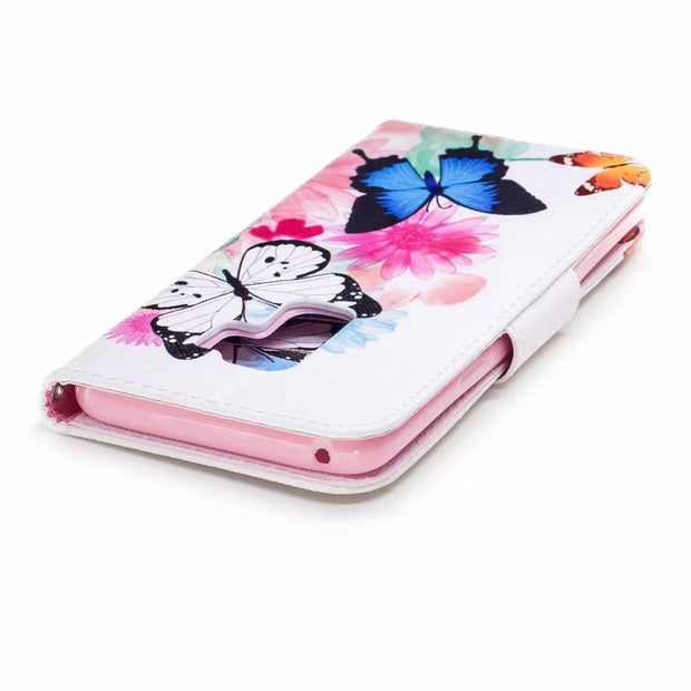 For Samsung Galaxy S8 S9 Plus Case Flip PU Leather Case For Samsung Galaxy Note 8 9 Cover Flower Painted Card Slot Stand Wallet