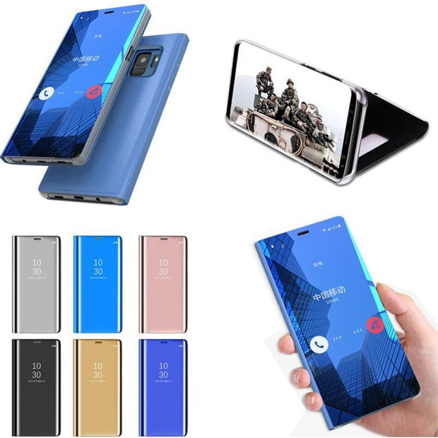 For Samsung Galaxy S9 Cover Leather Double Color Block Soft PU Leather Slim Kickstand Protective Shell For Galaxy S9