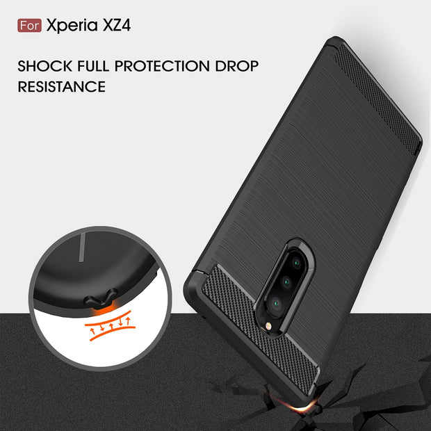 For Sony XZ4 Cover For Sony Xperia XZ4 XZ 4 Case Armor Bumper Phone Shell For Sony Xperia XZ4 Carbon Fiber Brushed Silicone Case