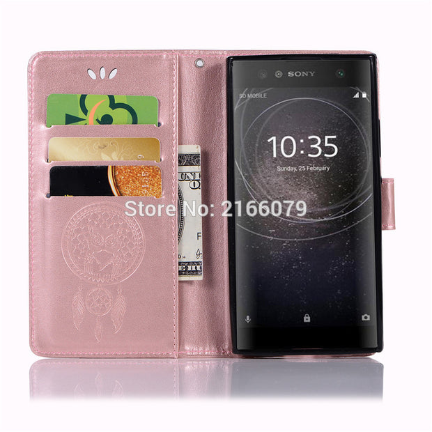 "For Sony Xperia XA2 / Dual H3113 H3123 5.2"" 3D Pattern Owl Luxury Flip PU Leather Case Card Insert Slots Wallet Stand Cover"