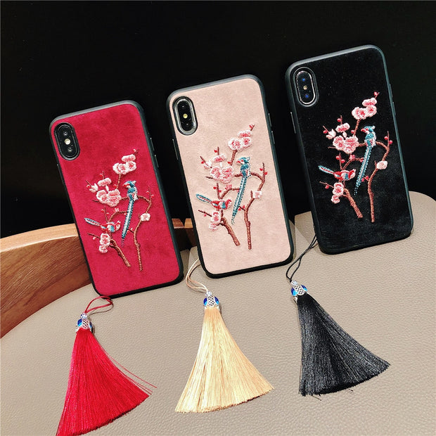 For Xiaomi 8 Case Chinese Style Embroidery Peach Flower Crane Phone Case For Xiaomi 6 8 Lite 360 Degree Cover Coque With Tassel