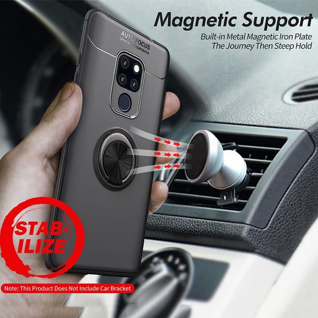 Full Cover For Huawei Mate 20X Case Anti-Slip Ring Finger Holder Car Magnet Rugged Armor Phone Cover For Huawei Mate 20x Case