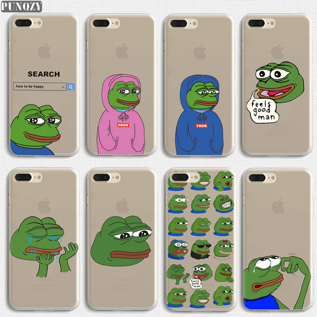 the latest 4cc89 d1e66 Funny Pepe The Frog Sad Happy Cry Feels Good Man Phone Case For IPhone 7 6S  8 Plus 4S 5S SE X XR XS MAX Soft TPU Silicone Cover