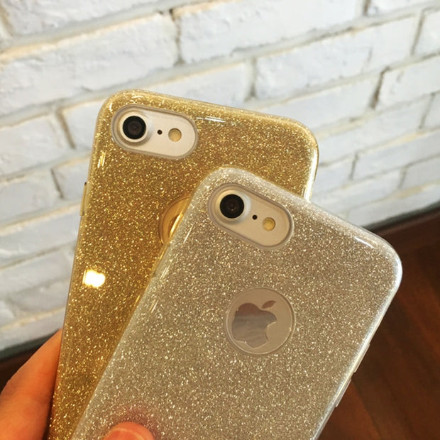 GerTong Ultra Thin Mobile Phone Case For IPhone 5 5S 6 Glitter Protective Shell For IPhone X 10 7 8 6 6S Plus Silicon Back Cover