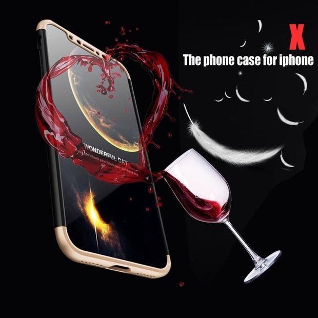 Golden Black Gold Shockproof PC Phone Protective Case With Glass Film Full Cover For IPhone X