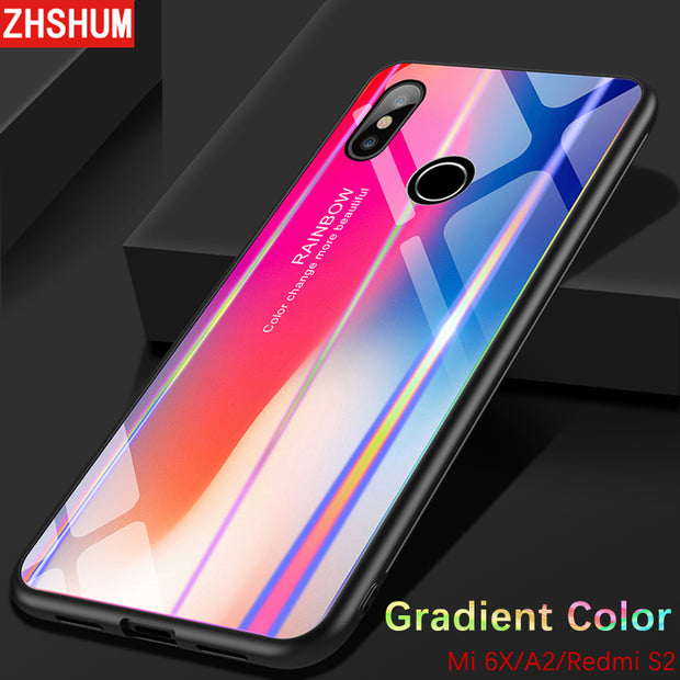 buy popular 6ed1a a069f Gradient Color Tempered Glass Back Cover For Xiaomi MI A2 6X Redmi S2  Bumper Rainbow Bling Silicone Case 360 Full Xiaomi A2 Case