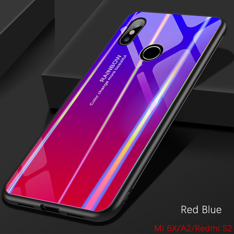 buy popular ffbcc 4b886 Gradient Color Tempered Glass Back Cover For Xiaomi MI A2 6X Redmi S2  Bumper Rainbow Bling Silicone Case 360 Full Xiaomi A2 Case