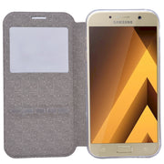 GrandEver Flip Case For Samsung Galaxy A7 2017 Leather Case For Intelligent Answer Function Screen Position Window For A7 2017