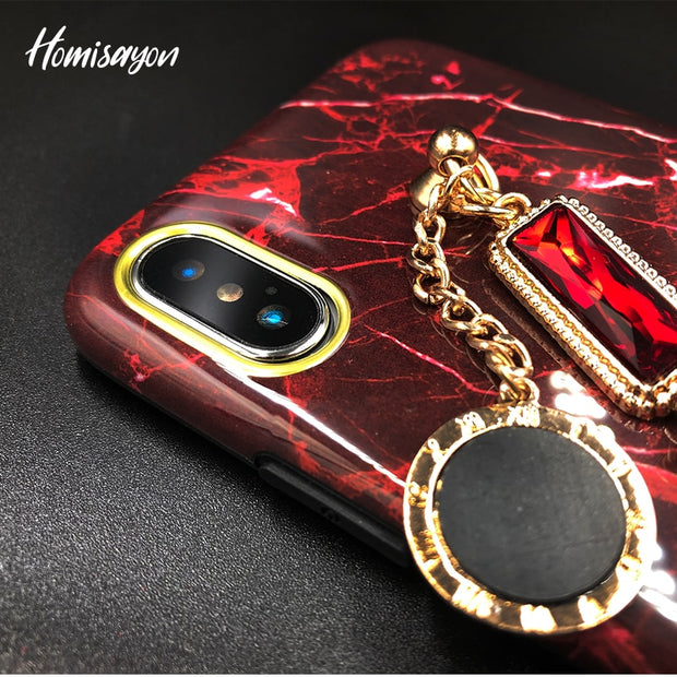 HOMISAYON Luxury Marble Glitter Phone Case For IPhone 7 Plus X Bling Rhinestone Chain Soft TPU Ultra Thin For IPhone 6S 8 Plus