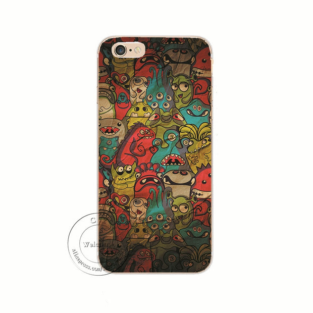 HTiF CoolNess Cartoon Designs Hard Plastic Back Case Cover For Apple IPhone 8 X 4 4S 5 5S 5C SE 6 6S 7 Plus 6SPlus Shell