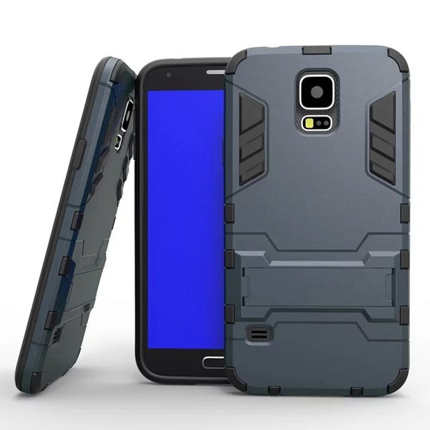 Hard Heavy Silm Hybrid Duty Armor Shield Case TPU + PC Back Cover Protective With Stand For Samsung Galaxy S5 SV I9600 G900