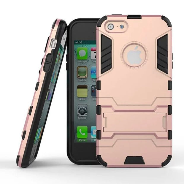 Hard Heavy Silm Hybrid NEO Duty Armor Shield Case TPU + PC 2 In 1 Back Cover Protective With Stand Function For IPhone 5 5s SE