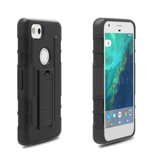Heavy Duty Hard Hybrid Rugged Case For Google Pixel 2 Belt Clip Holster Drop Impact Protective Cover For Google Pixel 2 / Muski