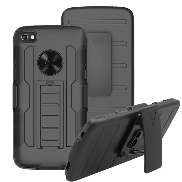 Heavy Duty Hard Hybrid Rugged Case With Kickstand Impact Drop Protection Belt Clip Holster Cover For Alcatel Idol 5 (US Version)