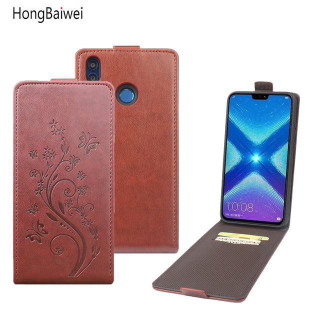 HongBaiwei For Huawei Honor 8X Flip Case Fashion Embossed Leather Case  Cover For Huawei Honor 8X Vertical Back Cover 6 5'' Case