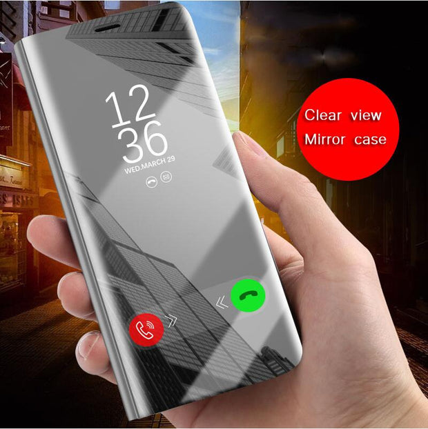 Honor Note 10 Flip Case For Huawei Nova 3 3i P Smart Plus P20 P10 P9 P8 Lite 2017 Plus Mate 9 10 Mirror Stand Case Y6 Y5 Y9 2018