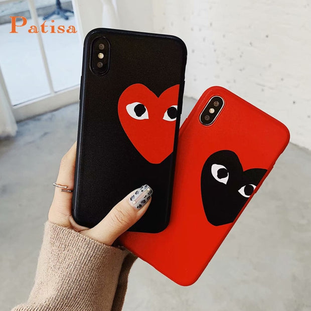 new arrival ed342 3f096 Hot CDG Play Comme Des Garcons Phone Case For Iphone X XS MAX XR 10 8 7 6  6s Plus Luxury Soft Silicone Cover For Iphone X Fundas