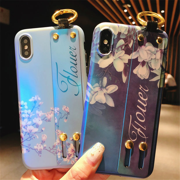 Hot Fashion Orchid Blue Flower Aurora Gradient Color Ring Phone Case For IPhone 6 6s XS MAX/XR 7 8 Plus Soft Wrist Strap Covers