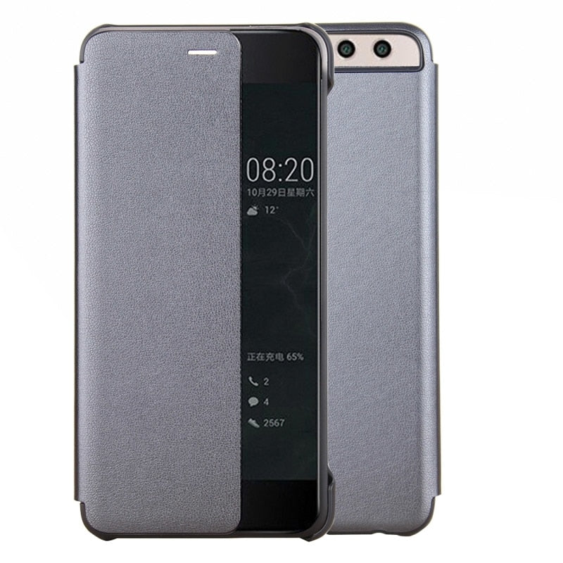 buy popular 44cce 20dfa Huawei P10 Plus Flip Cover Luxury PU Smart Leather Case Smart View Window  Call Display Hard PC Protective For Huawei P10 Plus