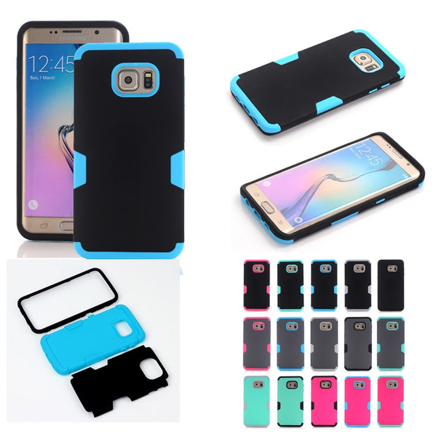 Hybrid Heavy Duty Shockproof Full-Body Protective Case With 3 Layer Hard PC+ Soft Silicone For Samsung Galaxy S6 EDGE Plus