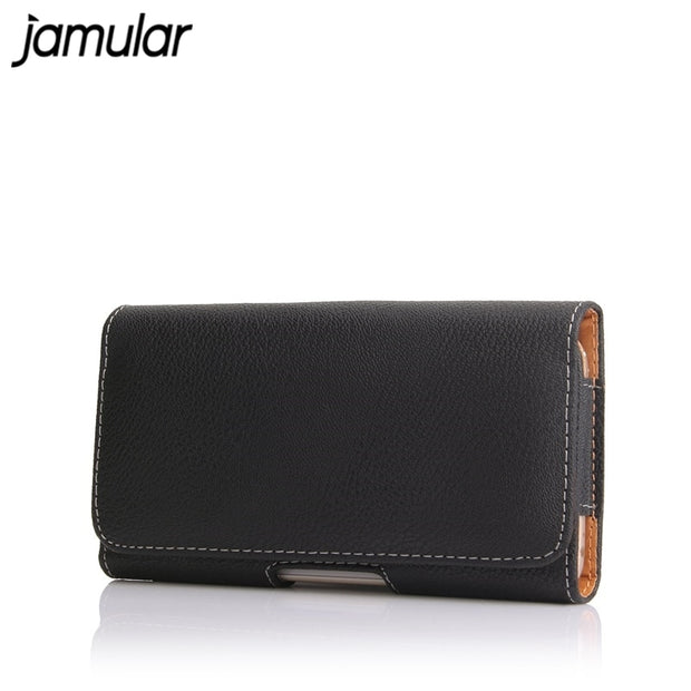 JAMULAR Phone Case Belt Clip Leather Bag Cover For IPhone XS MAX XR X 7 8 6 6s Plus Black Holster Cover For Samsung S9 S8 Note 9
