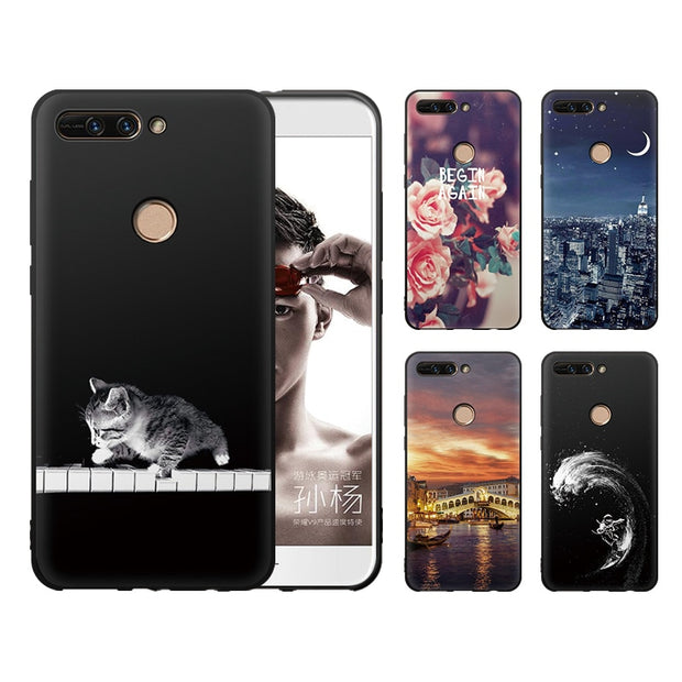 "JURCHEN 5.7"" Silicone Soft Case For Huawei Honor 8 Pro Cover For Honor V9 Case 3D Patterned TPU Etui For Honor 8 Pro Case Cover"