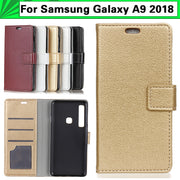 JURCHEN Phone Case For Samsung Galaxy A9 2018 Case Litchi Skin Leather Wallet Flip Back Cover For Samsung Galaxy A9 2018 A920F