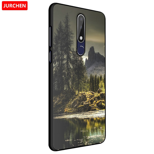 JURCHEN Soft Silicone TPU Protective For Nokia 3 1 Plus 2018 Case Tree  River Printing Mobile Phone Case For Nokia 3 1 2018 Cover