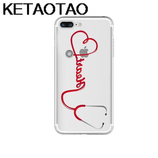 Phone Bumper Helpful Ketaotao Medical Love Heart Doctor Nurse Phone Cases For Iphone 4s 5c 5s 6 6s 7 8 Plus X Case Crystal Clear Soft Tpu Cover Cases