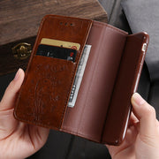 KISSCASE Flip Leather Case For IPhone 7 8 Plus X XS Max Retro Embossed Wallet Case Phone Bag For IPhone 6 6s Plus 5 5s SE Cover