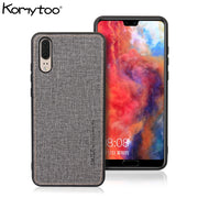 KOMYTOO PC Leather Phone Case For Huawei P20 Pro Shockproof Cloth Pattern TPU Ultra Slim Cover Cases For Huawei Mate 10 9 Pro