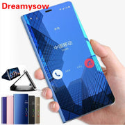 Leather Smart View Flip Case For Redmi 6 6A 6 Pro Note4 5 4X 5A 5 Plus S2 Mirror Effect Case For Xiaomi Mi8 8SE Mi6 5X 6X A1 A2
