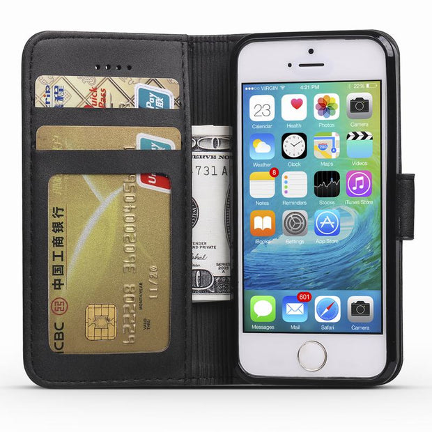 Leather Wallet Case For IPhone SE Case IPhone 5S Flip Phone Case With Credit Card For Coque IPhone 5 Mobile Phone Shell Fundas