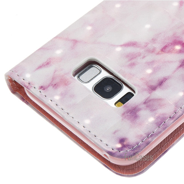 Leather Wallet Flip Marble Case For Samsung Galaxy S8 Plus Phone Cover Accessory For Galaxie Gelaksy Galaksi Gelaksi Cas
