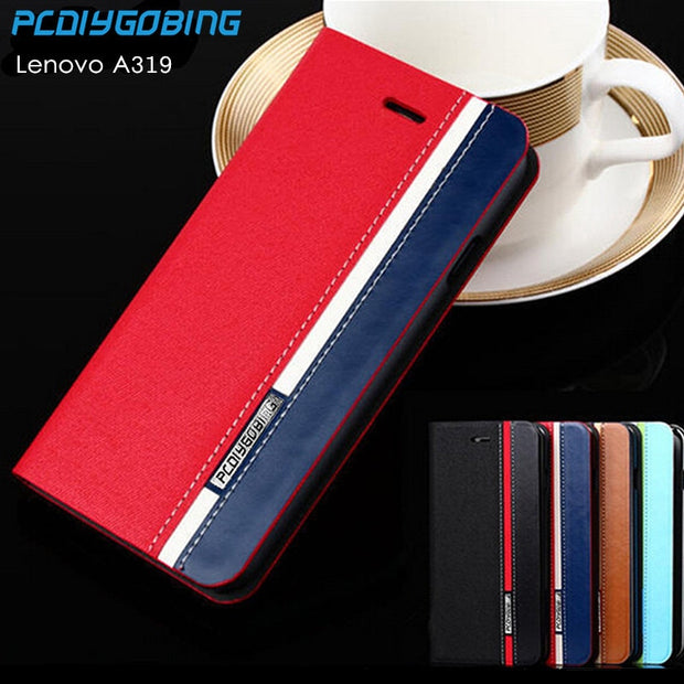 Lenovo A319 Business & Fashion Flip Leather Cover Case For Lenovo A319 Case  4 5inches Mobile Phone Cover Mixed Color Card Slot