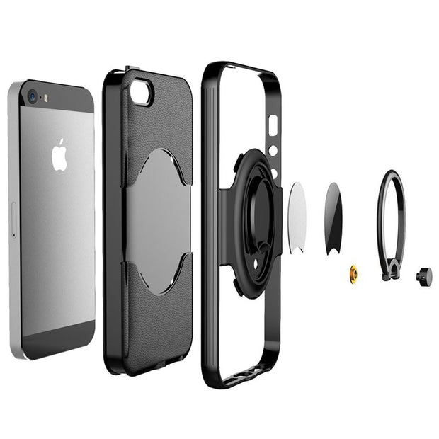 Litchi Pattern 360 Degrees Adjustable Ring Stand Grip Shock Absorbing Soft TPU Inner Hard PC Back Cover Case For IPhone 5 5S