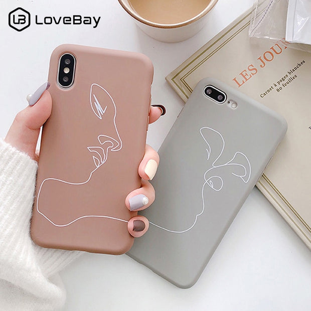 Lovebay Abstract Art Line Phone Case For IPhone 6 6s 7 8 Plus X XR XS Max Love Heart Coque Soft TPU Back Cover For IPhone 6 Case
