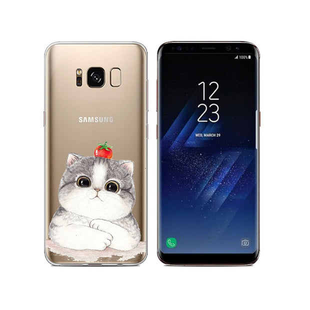 Lovely Cartoon Cat For Samsung Galaxy S8 S7 Edge S8 Plus Case Transparent Soft Silicone TPU Back Cover
