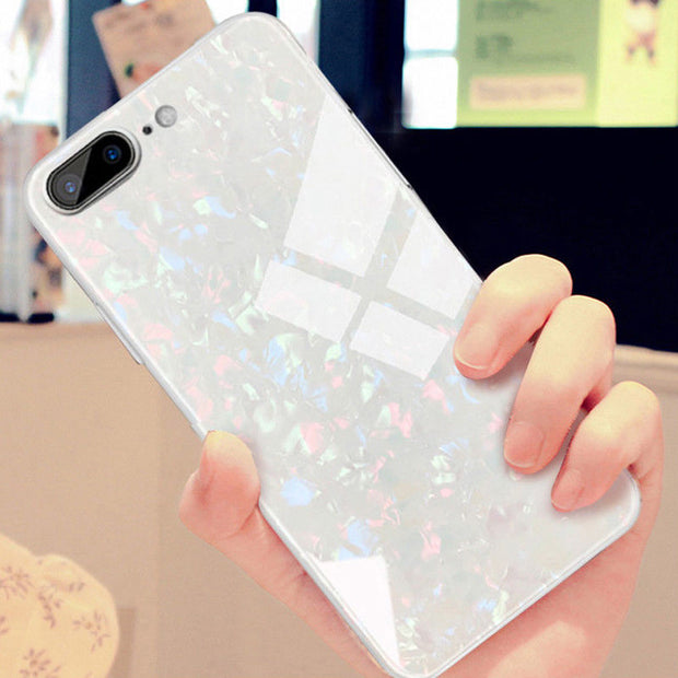 Luxury Bling Conch Shell Sparkling Tempered Glass Case For IPhone 6 6S 7 Plus Soft TPU Frame Hard Back Cover For IPhone X 8 Plus