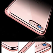 Luxury Coque For IPhone 7 Plus Case Clear Transparent Gold Plating Soft TPU Back Cover For IPhone 6 6s Plus 5 5s SE Phone Cases