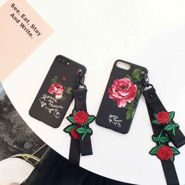 Luxury Designer Rose Flowers Lanyard Nylon Band Matte Soft TPU Full Cover Case For IPhoneX 6s/8 7plus Body Shell Protection
