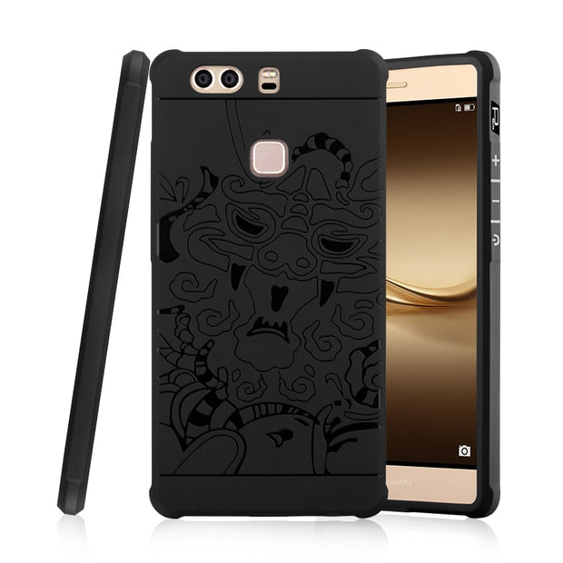 Luxury Dragon Phone Case For Huawei P8 P8 Lite P8 Lite 2017 P9 P9 Lite P9 Plus High Quality Soft Silicone Protective Back Cover