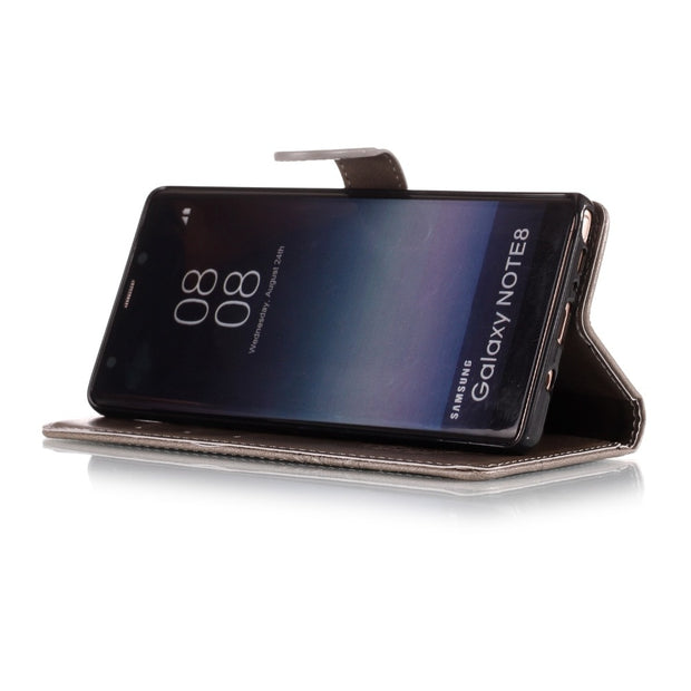 Luxury Leather Flip Wallet Phone Case For Samsung Galaxy Note 8 Note 9 Leather&Silicone Phone Cover With Strap