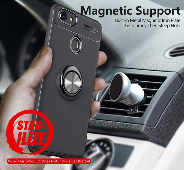 Luxury Metal Ring Stand Phone Case For OPPO F5 A73 F1S F3 Find X Magnetic 360 Rotating Suction Car Bracket Soft TPU Back Cover