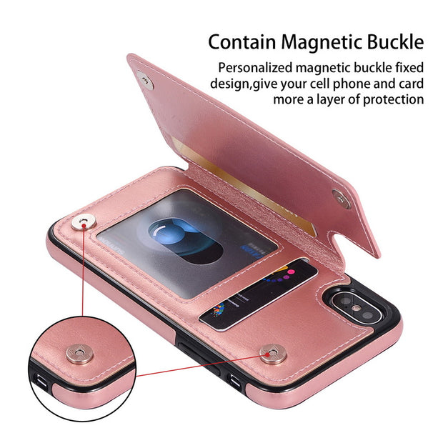 Luxury Multi Flip Card Holder Slot Case For IPhone X XS Max XR 8 7 Plus Retro PU Leather Back Cover For IPhone 5S 5 SE 6 6S Plus