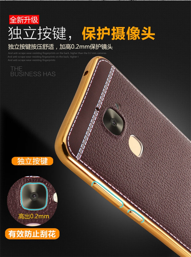 Luxury Plating TPU Soft Leather Cover For LeEco Le 2 2s Max 2 Pro3 Electroplating Frame Fashion Mobile Phone Case Coque Capa
